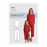 Top og bukser til voksne og børn. Simplicity 9121.