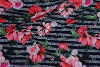 Sort og grå tværstribet bomuldsjersey med coral blomster