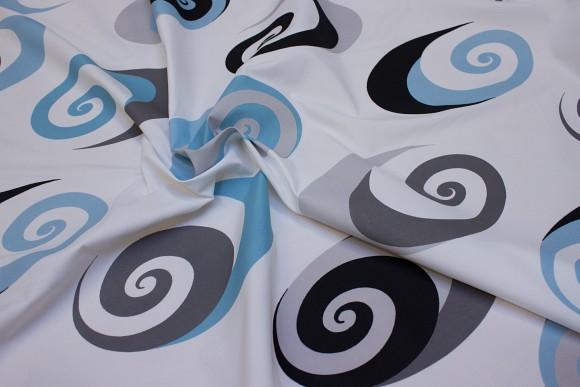 Hvid-blå-grå polyester til bruseforhæng