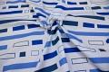 Hvid-blå polyester til bruseforhæng. 69 kr.