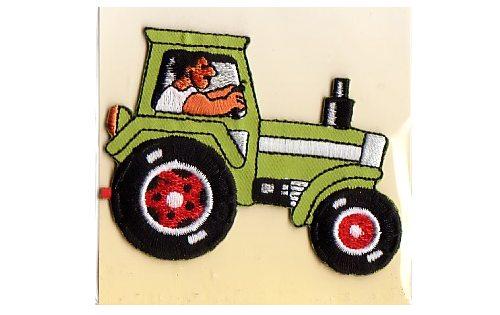 Strygemærke med lysegrøn traktor