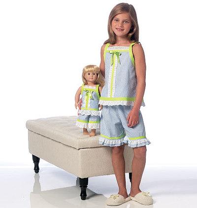 Pige-og dukkekjole, og -shorts