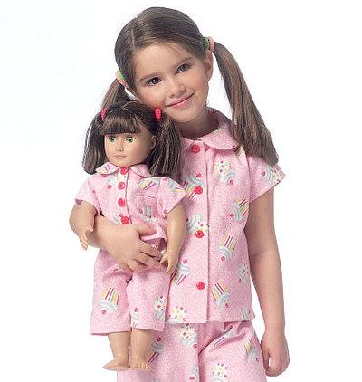 Piger og dukke, kjole, top og bukser