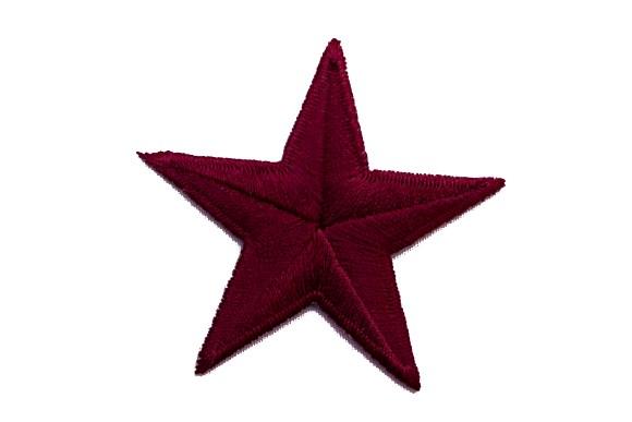 Bordeaux stjerne strygemærke, ø 5 cm