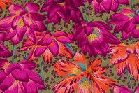 Flot bomuld fra Rowan med store blomster i fuchsia og orange
