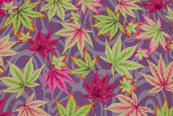 Flot støvlilla patchwork-bomuld med blade i pink og lime