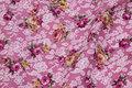 Gammelrosa vævet bomuld med 3 cm roser.