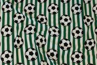 Grøn og hvid tværstribet bomuldsjersey med fodbolde