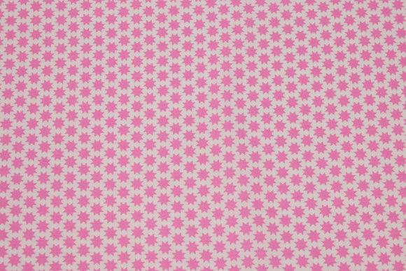 Hvid, vævet bomuld med små 1 cm pink stjerner