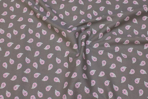 Lys grå, vævet bomuld med pink 25 mm bladmønster