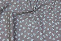 Lys grå, vævet bomuld med turkis 25 mm bladmønster