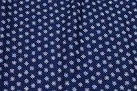 Marine, vævet bomuld med lille 15 mm stjerneblomst