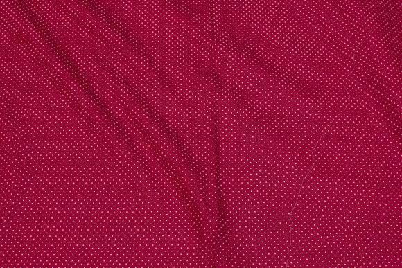 Mørkrød patchwork-bomuld med hvid 1 mm miniprik