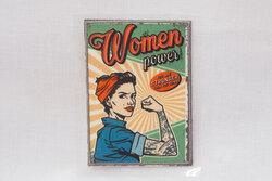 Retro pin-up strygemærke, woman power 6 x 8 cm