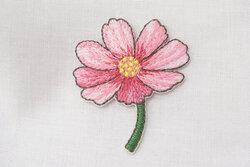 Strygemærke blomst lyserød 4 x 3 cm