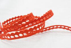 Hæklet bånd, rødt, 1cm