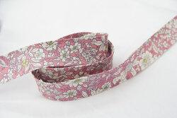 Skråbånd, rosa småblomstret 2cm