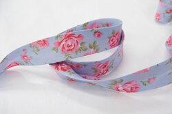 Skråbånd, lyseblå med roser 2cm