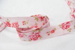 Skråbånd, lyserød med roser 2cm