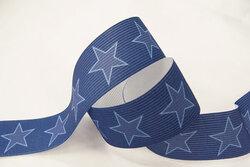 Elastik med stjerner, blå 3cm