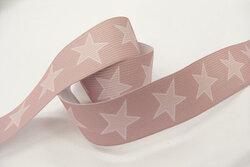 Elastik med stjerner, gammelrosa 3cm