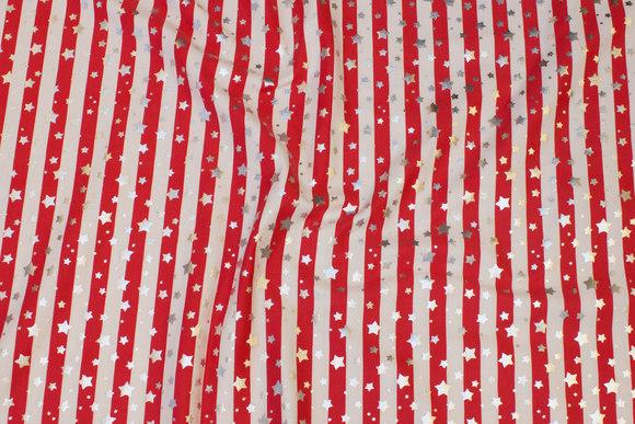 Tværstribet bomuldsjersey i rød og hvid med sølvstjerner