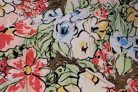 Viscosejersey med store blomster i forårsfarver