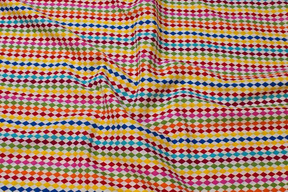 Hvid bomuld med multifarvede striber
