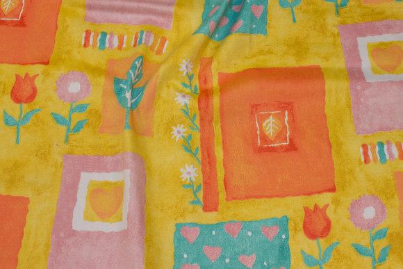 Bomuldssatin i retro-stil i gul, orange, lilla og turkis