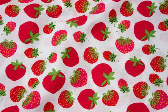 Hvid, fast bomuld med jordbær