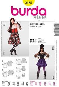 Gothpie, sigøjnerbluse, nederdel, korset. Burda 2385.