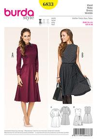 Kjole med taljesøm, klokkeformet nederdel. Burda 6833.