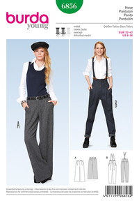 Bukser med taljelæg. Marlene Dietrich bukser. Burda 6856.