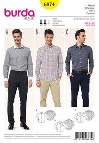 Herrebluse/skjorte, krave variationer. Burda 6874.