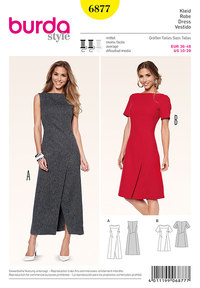 Kjole med slå-om-effekt og slids. Burda 6877.