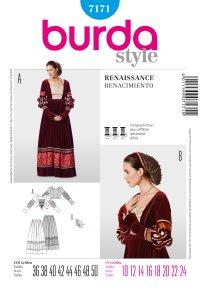 Historisk kjole, renæssance. Burda 7171.