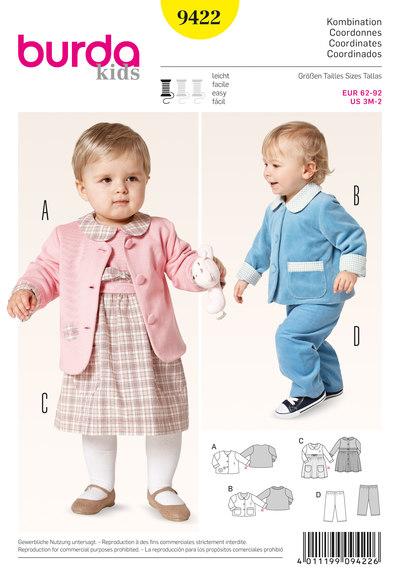 Sæt med jakke, kjole, træk-op-bukser