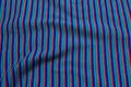 Blå-turkis-grøn-grå-rød rib-stof, tværstribet