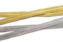 Dekorationsbånd i guld eller sølv, 10 mm bredt