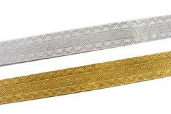 Dekorationsbånd i guld eller sølv, 20 mm bredt