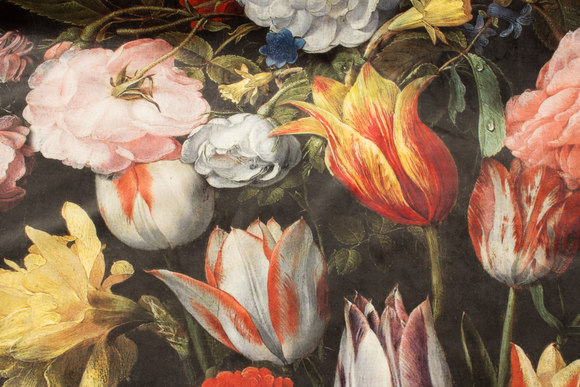 Fantastisk flot, sort vævet velour med store blomster i digitaltryk