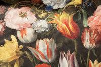Fantastisk flot, sort vævet velour med store blomster i digitaltryk.