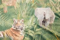 Flot, grøn vævet velour med store jungledyr i digitaltryk
