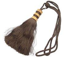 Flot, mørkebrun gardin-kvast med træbesætning ca. 25 cm lang