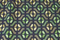 Gobelin i marine og irgrøn med grafisk mønster
