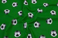 Grøn bomuld med fodbolde på 5 cm
