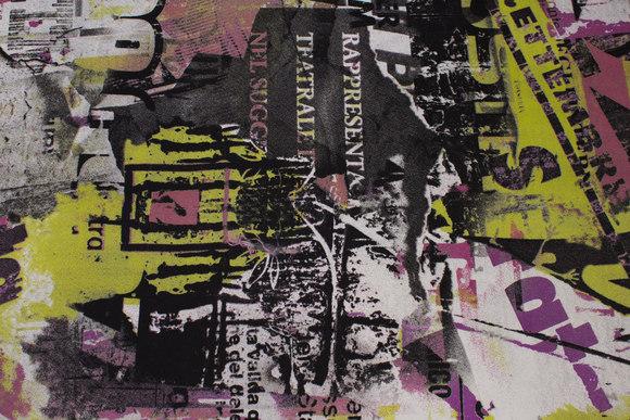 Imprægneret, let polyester i sort, lilla og lime mønster