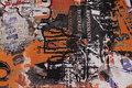 Imprægneret, let polyester i sort og rust abstrakt mønster.