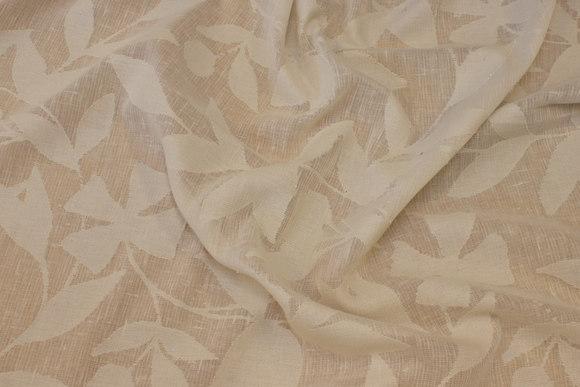 Jacquardvævet, let transparent gardinstof i råhvid