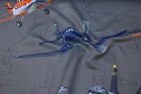 Koksgrå mørklægningsstof med Disney Planes